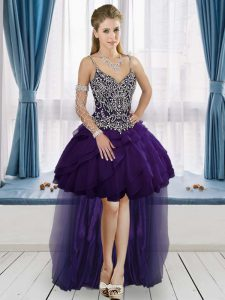 Pretty Purple A-line Straps Sleeveless Beading High Low Lace Up Celebrity Inspired Dress