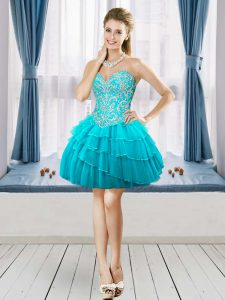 Sleeveless Tulle Mini Length Lace Up Evening Dress in Aqua Blue with Beading and Ruffled Layers