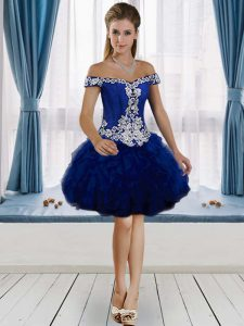 Sleeveless Tulle Knee Length Lace Up Evening Dress in Royal Blue with Beading and Ruffles