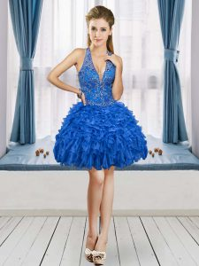 Royal Blue V-neck Lace Up Beading and Ruffles Prom Evening Gown Sleeveless
