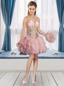 Pink Organza Lace Up Dress for Prom Sleeveless Mini Length Ruffles