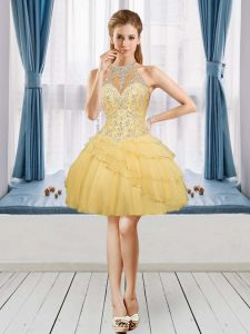 Gold A-line Tulle Halter Top Sleeveless Beading and Ruffled Layers Mini Length Lace Up Prom Dress