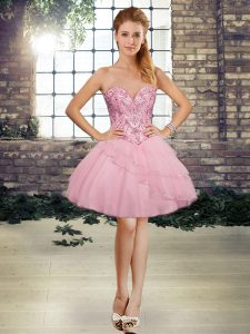 Sleeveless Tulle Mini Length Lace Up Prom Dress in Pink with Beading