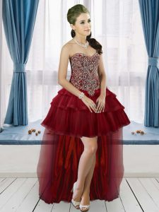 Clearance Sweetheart Sleeveless Lace Up Beading and Ruffled Layers Prom Dresses in Burgundy