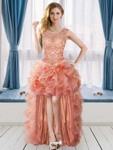 Glorious Tulle Scoop Sleeveless Lace Up Beading and Ruffles Prom Dresses in Peach