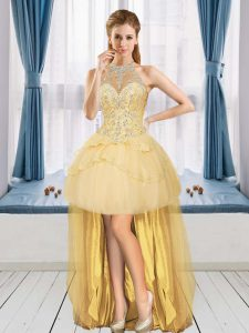 Sleeveless Tulle High Low Lace Up Evening Dress in Gold with Beading and Appliques