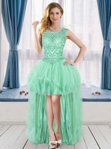 Scoop Sleeveless Red Carpet Prom Dress High Low Beading Apple Green Tulle
