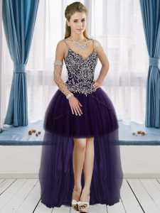 Hot Selling Purple Tulle Lace Up V-neck Sleeveless High Low Prom Evening Gown Beading