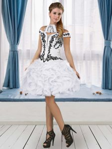 Off The Shoulder Sleeveless Lace Up Prom Party Dress White Tulle Embroidery and Ruffles