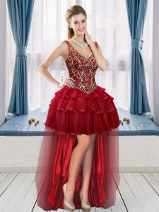 Customized High Low Wine Red Evening Dress V-neck Sleeveless Lace Up