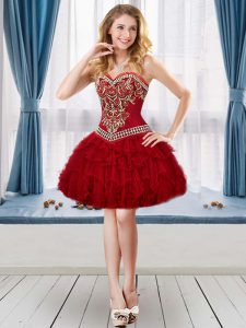 Romantic Wine Red Sweetheart Neckline Beading and Embroidery and Ruffles Dress for Prom Sleeveless Lace Up