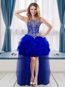 Modern Royal Blue A-line Beading Prom Dresses Sleeveless High Low