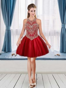 Red Strapless Neckline Beading Homecoming Dress Sleeveless