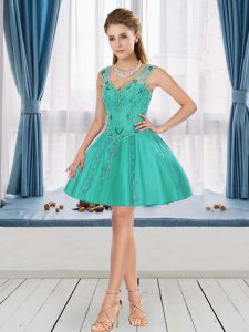 Pretty V-neck Sleeveless Runway Inspired Dress Beading and Appliques