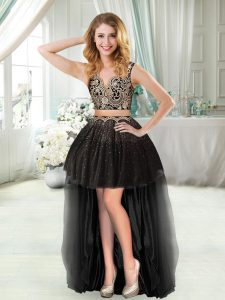 Artistic Black Celebrity Style Dress Prom and Party with Beading and Appliques V-neck Sleeveless Zipper