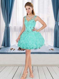 Sophisticated Aqua Blue Prom Dresses Sleeveless Mini Length Beading and Ruffles
