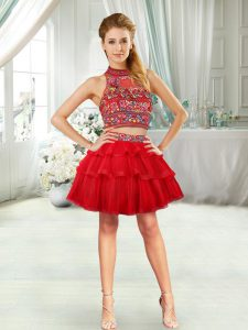 Custom Designed Mini Length Red Dress for Prom Sleeveless Embroidery and Ruffled Layers