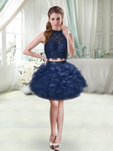 Two Pieces Prom Party Dress Navy Blue Halter Top Sleeveless Mini Length