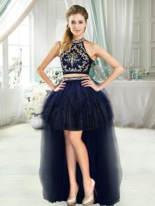 Elegant Navy Blue Sleeveless Beading High Low Homecoming Dress