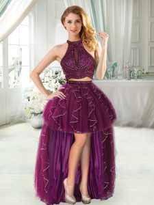 Fancy Halter Top Sleeveless Beading and Ruffled Layers Prom Dress in Purple