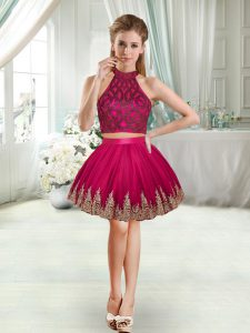 Mini Length Fuchsia Dress for Prom Sleeveless Beading and Appliques