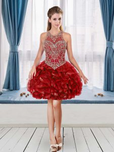 A-line Prom Party Dress Red Halter Top Sleeveless Mini Length