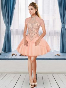 Mini Length A-line Sleeveless Peach Prom Dress