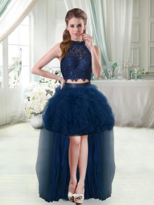 Navy Blue Two Pieces Lace and Ruffles Dress for Prom Sleeveless High Low