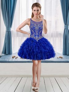 Sleeveless Mini Length Dress for Prom in Royal Blue with Beading and Ruffles
