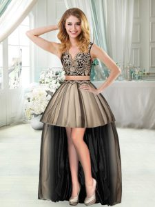 Black Two Pieces Sleeveless Appliques High Low Dress for Prom