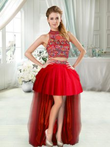 Sleeveless High Low Prom Dress in Red with Embroidery