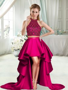 Dynamic Hot Pink Halter Top Neckline Beading Prom Dress Sleeveless