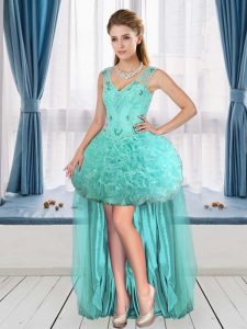 Sleeveless V-neck Beading Lace Up Prom Party Dress