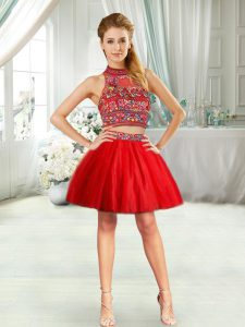 Inexpensive Halter Top Sleeveless Prom Dress Mini Length Embroidery Red