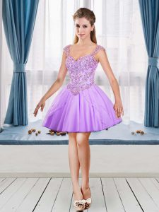 Adorable Lavender Sleeveless Tulle Prom Gown for Prom and Party