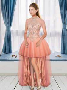 Peach Prom Dresses Prom and Party with Beading Halter Top Sleeveless