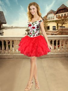 Customized White And Red Off The Shoulder Lace Up Embroidery and Ruffles Homecoming Dress Sleeveless