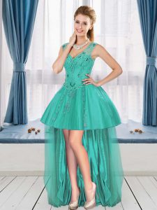 Charming Turquoise Dress for Prom Sleeveless High Low Beading and Appliques
