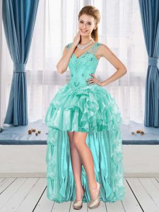 A-line Celebrity Evening Dresses Aqua Blue V-neck Sleeveless High Low