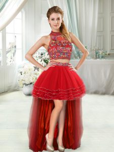 Custom Design Sleeveless High Low in Red with Embroidery and Ruffled Layers