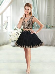 Black Sleeveless Mini Length Appliques Prom Evening Gown