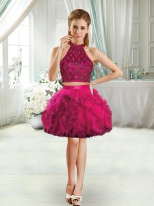 Enchanting Fuchsia Prom Evening Gown Prom and Party with Beading and Ruffles Halter Top Sleeveless