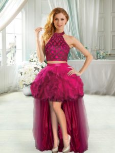 Sleeveless High Low Beading and Ruffles Prom Gown with Fuchsia