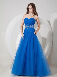 Dodger Blue A-line Sweetheart Floor-length Dress for Formal Prom in Eddy