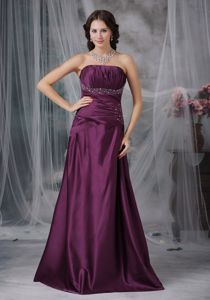 Grape Strapless Prom Gown Dress in Floor-length with Ruching and Beading