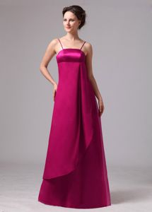 Spaghetti Straps Empire Fuchsia Prom Dress in Floor-length with Back Zipper