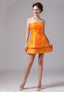 Cute Orange Strapless Mini-length Prom Gown Dresses with Ruches in Cone