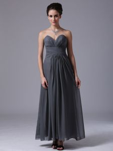 Grey Sweetheart Ankle-length Prom Gown Dress with Ruches in Bridge City