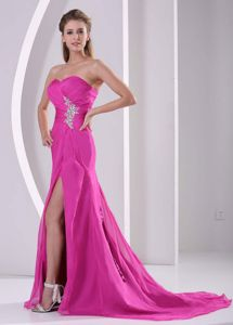 Sweetheart High Slit Hot Pink Dresses for Prom with Ruching and Beading