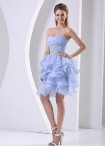 Stylish Lilac Sweetheart Knee-length Prom Gowns with Ruches and Ruffles